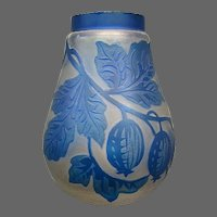 Cameo glass acid cut back blue frosted leaves and berries vase