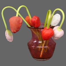 Antique German blown glass tulip flowers