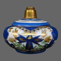 Victorian blue enameled glass perfume bottle