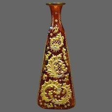 Moser art glass tall cranberry gilded platinum perfume bottle unusual shape
