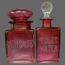 Antique cranberry glass bath salt jar toilet water perfume bottle