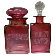 Antique cranberry glass bath salt jar toilet water perfume bottle