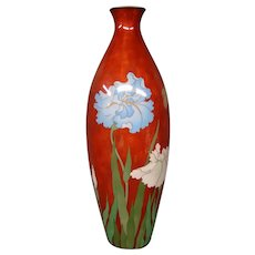 Huge Japanese cloisonne irises and butterfly vase signed