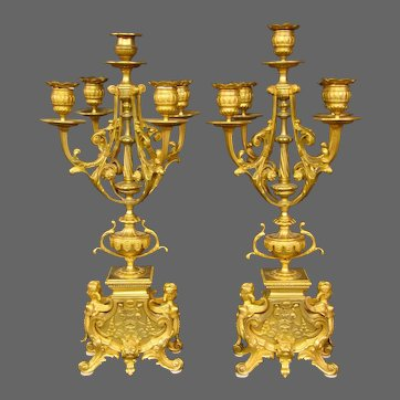 Antique French gilded bronze Egyptian revival winged women candelabras