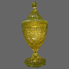 English yellow cut engraved antique glass covered vase pokal urn