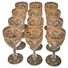 St Louis French crystal gilded art nouveau set 12 water goblets