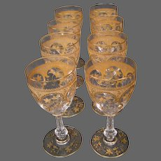 St Louis French crystal gilded art nouveau set eight wine goblets