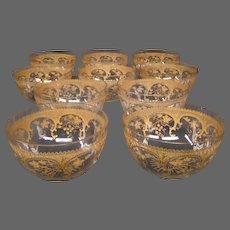 St Louis French crystal gilded art nouveau set 10 fingerbowls