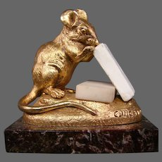Gilded French bronze mouse with sugar sculpture Clovis Edmond Masson