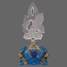 Czech Czechoslovakia blue lapis cut stone roses perfume bottle Josef Schmidt