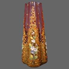 Bohemian gilded thickly enameled floral vase quatrefoil form