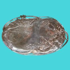 WMF silverplate art nouveau woman maidens huge  tray