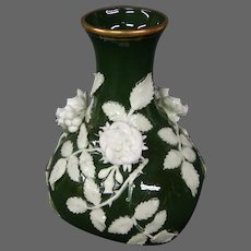 German porcelain green white applied flowers roses vase