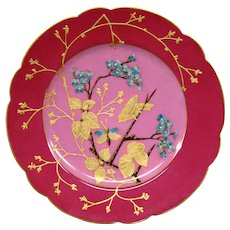Limoges French porcelain gilded bird butterfly floral scalloped plate
