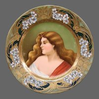 Vienna Austrian porcelain portrait plate after Asti artist signed beehive mark
