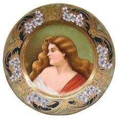Vienna Austrian porcelain portrait plate after Asti artist signed beehive mark