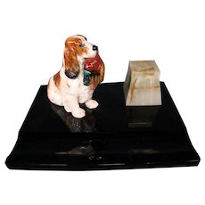 Royal Doulton cocker spaniel with pheasant inkwell for Asprey London onyx black glass