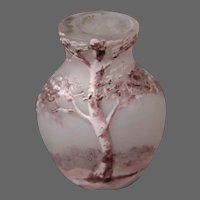 French art glass miniature enameled landscape vase