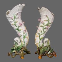 Antique English porcelain pair fern shell form vases