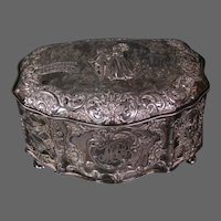 Antique silverplate courting scene lined jewelry box Christmas 1901