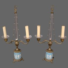 Antique Wedgwood jasperware pair table sconces candelabras or lamps Dancing Hours