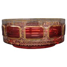 Moser ruby cranberry cabochon gold ashtray