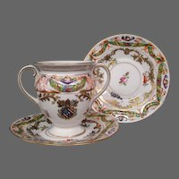 Antique Capo di Monte porcelain bouillion cup saucer Christies