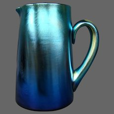 LCT Tiffany Favrile art glass rare blue iridescent pitcher 1259