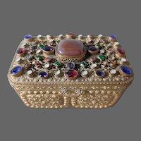 Antique Austrian jeweled gilded bronze brass jewelry box