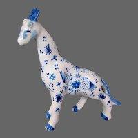 Delft pottery signed giraffe figure figurine