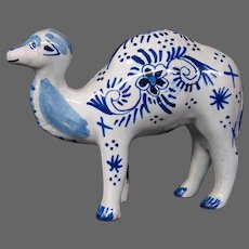 Delft pottery camel figurine figure signed