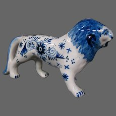 Delft pottery lion figurine figure signed