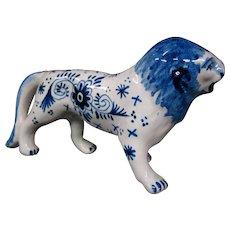 Delft pottery lion figurine figure signed
