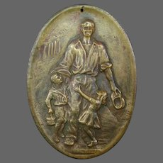 Antique bronze oval plaque medallion father with children