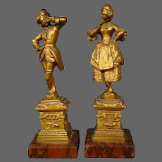 Antique pair gilded metal rouge marble man woman sculptures