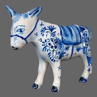 Delft pottery donkey mule figurine figure signed
