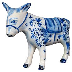 Delft pottery donkey mule figurine figure signed