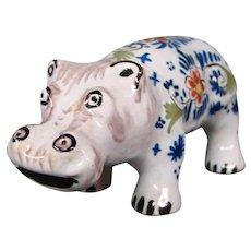 Delft pottery hippopotamus hippo figurine figure signed