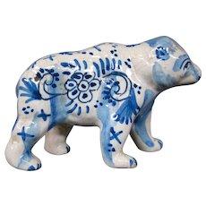 Delft pottery bear figurine figure signed