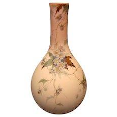 Webb burmese Queens ware Victorian decorated art glass floral vase