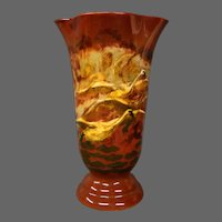 Artist signed art pottery vase geese in flight