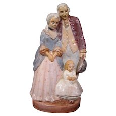 Grace Luse Federal Arts Project Cleveland Oh colonial family slip glaze ceramic figurine