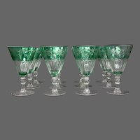 Sinclaire hand blown green cut to clear set 12 water goblets