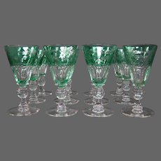 Sinclaire hand blown green cut to clear set 12 cordial goblets