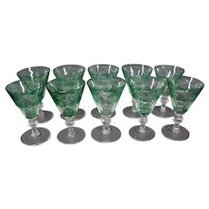 Sinclaire hand blown green cut to clear set 10 wine sherry goblets
