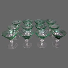 Sinclaire hand blown green cut to clear set 12 martini or champagne goblets