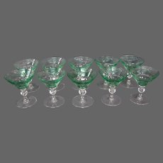 Sinclaire hand blown green cut to clear set 10 low sherry wine goblets