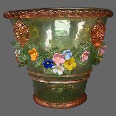 Murano Venetian blown glass jardiniere flower pot lion's heads applied flowers