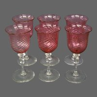 Steuben cranberry optic swirl twist stem set six water goblets shape 6404
