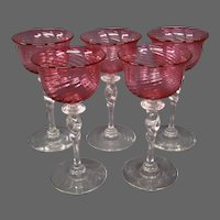 Steuben cranberry optic swirl twist stem set five wine sherry goblets